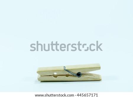 Clothes peg on white background - stock photo
