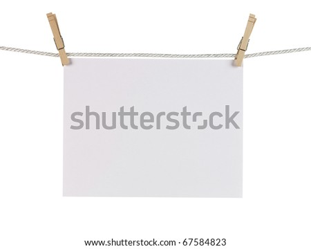 Clothes pin holding Paper with Path