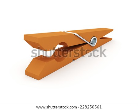 Clothes pin rendered isolated on white