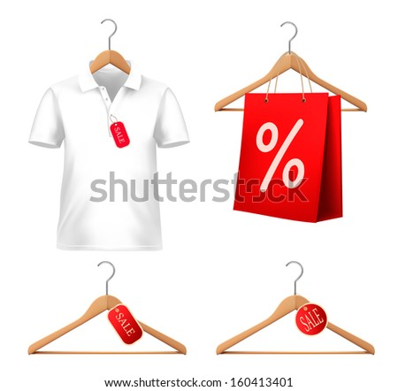 Clothes sale set with hangers and price tags. Concept of discount shopping. Raster version.