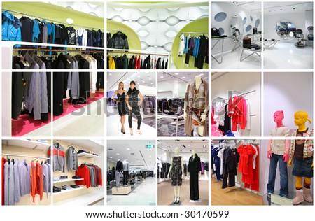 clothes shop interior collage - stock photo