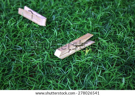 Clothespin grass background - stock photo
