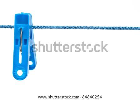Clothespin hang on a cord - stock photo