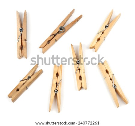 Clothespins on white background. - stock photo