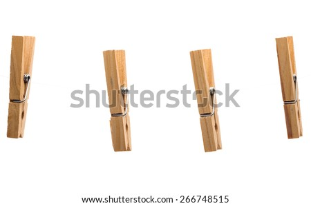 Clothespins on white background  - stock photo