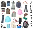clothing collection isolated on white - stock photo