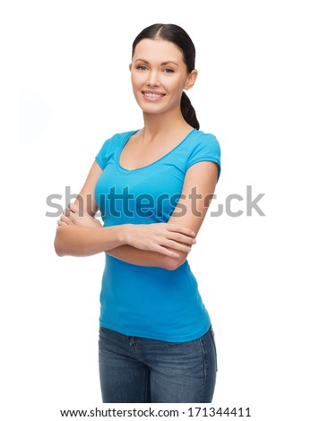 clothing design and happy people concept - smiling girl in blank blue t-shirt - stock photo