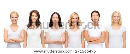 clothing design and people unity concept - group of happy smiling women in blank white t-shirts - stock photo