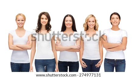 clothing design and people unity concept - group of happy smiling women in blank white t-shirts and jeans - stock photo