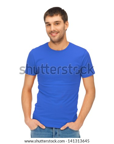 clothing design concept - handsome man in blank blue t-shirt - stock photo