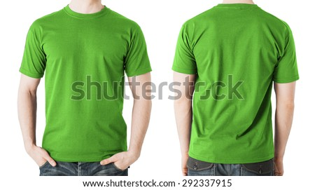 clothing design concept - man in blank green t-shirt, front and back view - stock photo