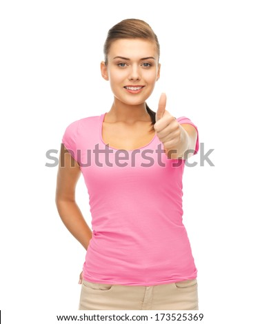 clothing design, health and breast cancer awareness concept - smiling girl in blank pink t-shirt showing thumbs up gesture - stock photo