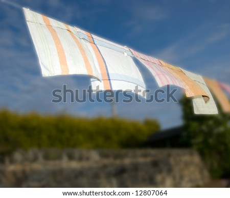 Clothing drying on a washing line