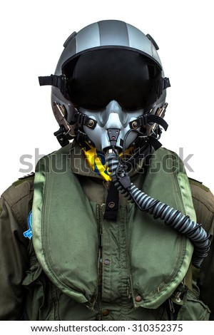 clothing for pilots or  pilots suit on white background - stock photo