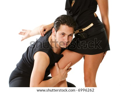 clothing latin blond flirting rumba mambo isolated - stock photo