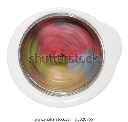 clothing laundering in washing machine - stock photo