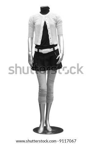clothing on mannequin isolated on white - stock photo