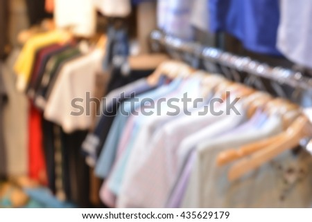 Clothing shop on blur background
