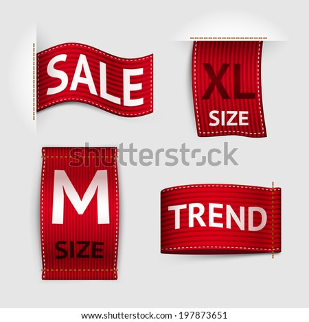 Clothing size trend sale red label ribbon set isolated  illustration - stock photo