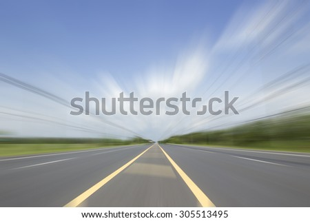 Cloud along on road with motion blur in the nature.  - stock photo