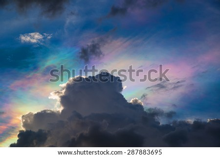 cloud and rainbow - stock photo