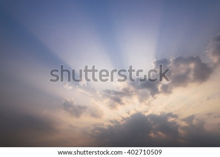 cloud and ray on the sky - stock photo