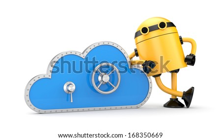 Cloud and safe lock with robot - stock photo