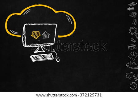 Cloud and sharing connections for desktop pc. Sharing online data through internet with network and wireless connection. Hand drawn cloud connection with desktop pc on blackboard with copyspace. - stock photo
