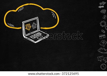 Cloud and sharing connections for laptop. Sharing online data through internet with network and wireless connection. Hand drawn cloud connection with laptop isolated on blackboard with copyspace. - stock photo