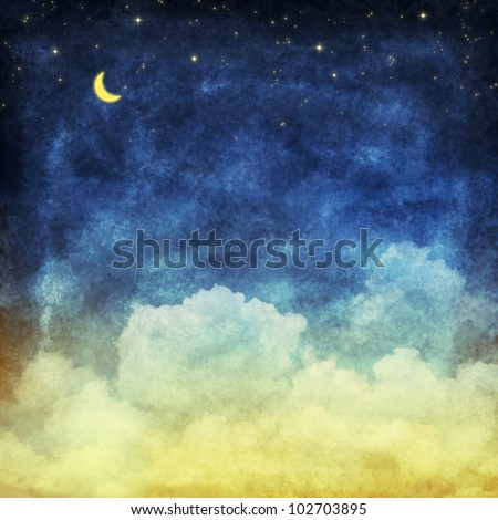 cloud and sky at night ,yellow and blue background - stock photo