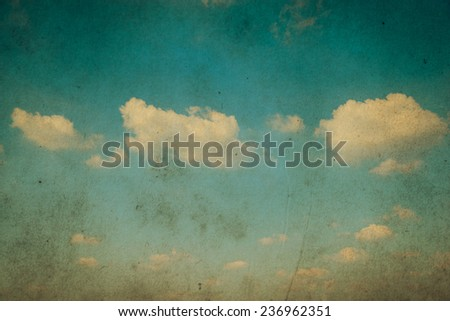 Cloud and sky. grunge paper filter.