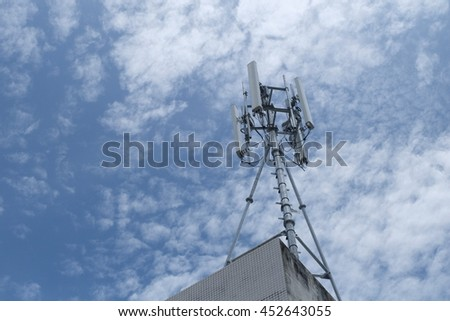 cloud and sky in evening with communications tower pole mobile internet wifi