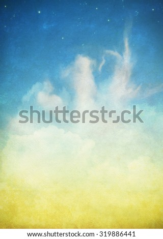 cloud and sky on an old grunge paper - stock photo