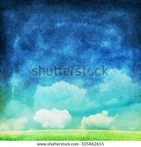 cloud and sky painting ,spring and summer background - stock photo