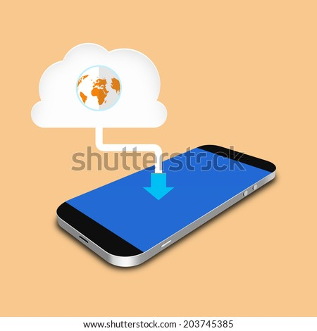 Cloud and smartphone ,cell phone illustration - stock photo