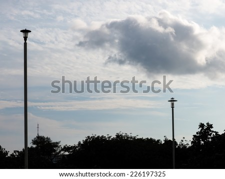cloud and street light - stock photo