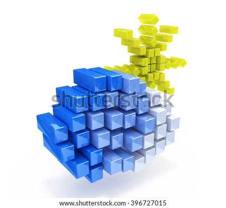 cloud and sun in the form of cubes - 3d rendered illustration - stock photo