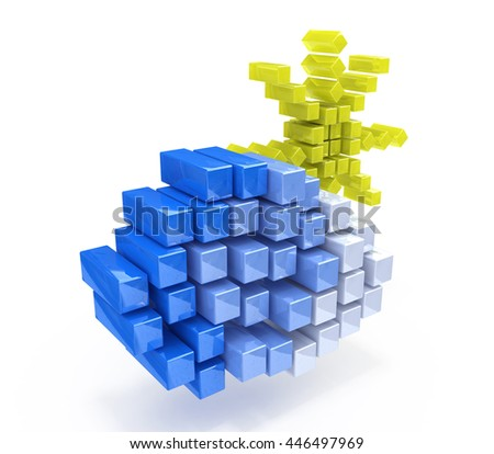 cloud and sun in the form of cubes in the design of the information related to the nature and the weather. 3d illustration - stock photo