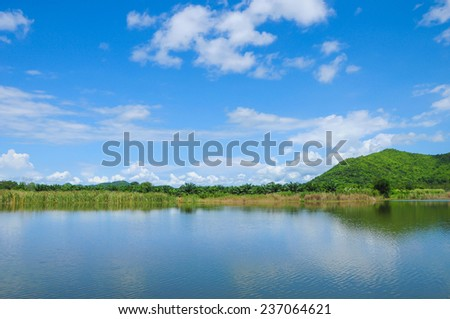Cloud and trees reflection in reservoir,hua hin Thailand. - stock photo