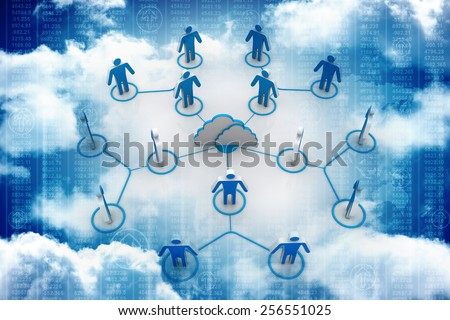 Cloud business network - stock photo