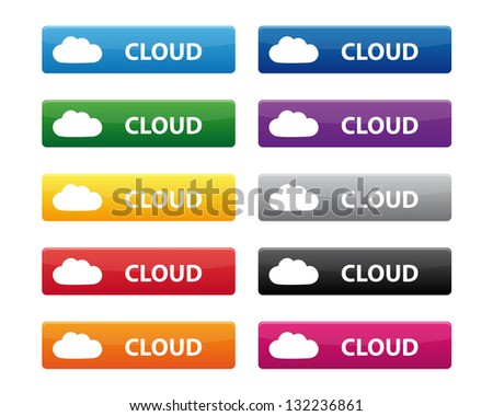 Cloud buttons. Vector available. - stock photo
