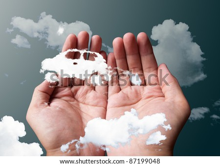 cloud car in hands - stock photo