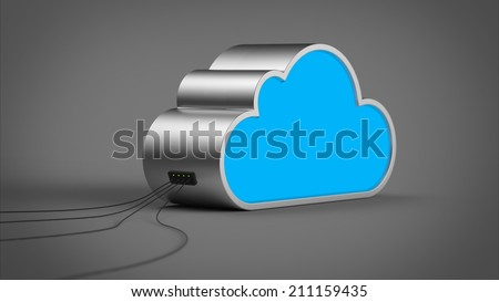 Cloud Computing Abstract Device with Cables Connected - stock photo