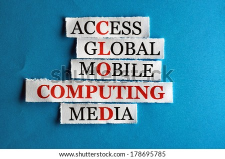 cloud computing  acronym  in business concept, words on cut paper hard light - stock photo