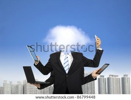 cloud computing and business thinking concept - stock photo