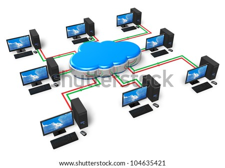 Cloud computing and computer networking concept isolated on white background