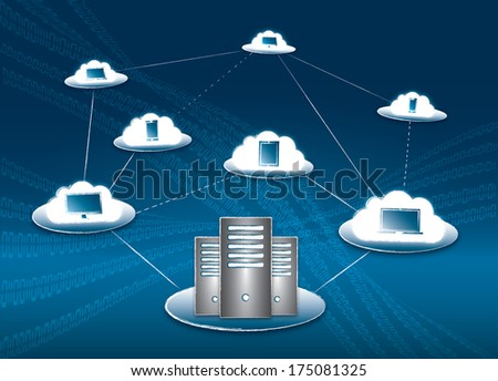 Cloud computing and connectivity concept with servers, computer, laptop, tablet and smartphone - stock photo