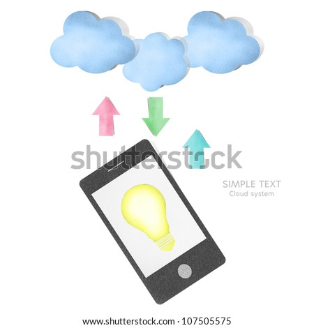 Cloud computing and creative concept paper craft by cork board - stock photo