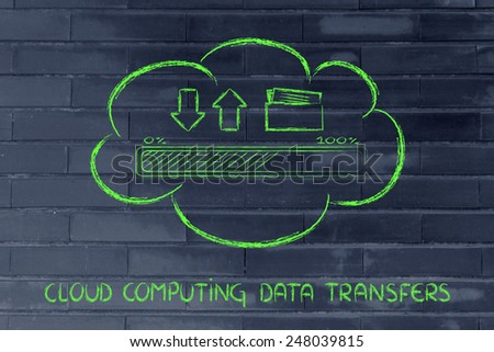 cloud computing and data uploads and downloads: progress bar and arrows with doc folder