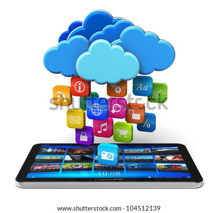 Cloud computing and mobility concept: tablet PC and blue glossy clouds with lot of color application icons isolated on white background - stock photo